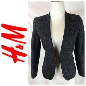 H&M Black and Multi Color Marled Open Blazer